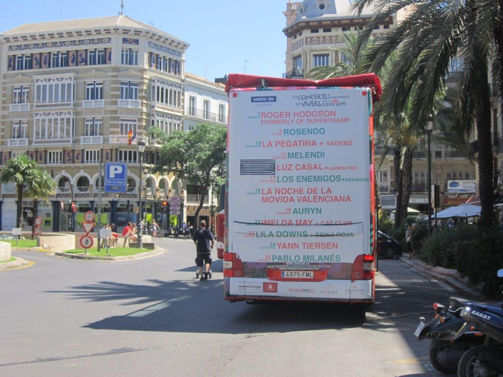 Publicidad bus turistico Valencia – Conciertos Feria Julio 2015