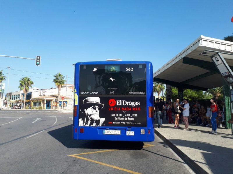 Publicidad autobuses Alicante, Publicidad exterior, concierto de Alicante, el drogas