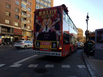 Publicidad bus turístico, Publicidad exterior, Publicidad Valencia, Circo Raluy Legacy