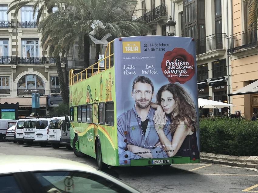 Publicidad bus turístico Valencia, Publicidad autobús turístico, publicidad exterior