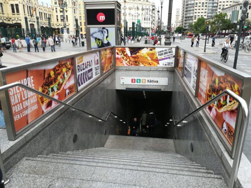 publicidad espectacular metro Valencia, publicidad exterior Valencia, publicidad metro Valencia